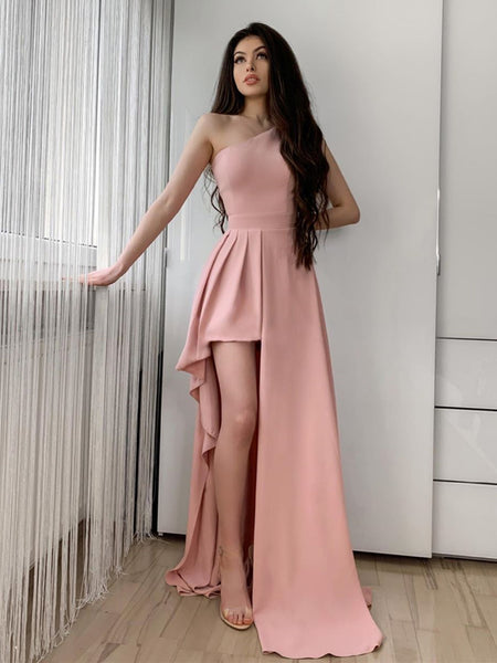 One Shoulder Pink Long Prom Dress, One Shoulder Pink Long Formal Evening Dresses