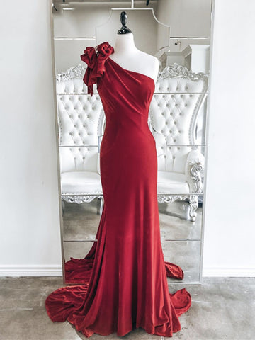 One Shoulder Red Velvet Mermaid Long Prom Dresses, Red Mermaid Long Formal Evening Dresses