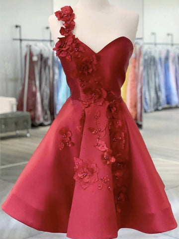 One Shoulder Short Burgundy Satin Prom Dresses, Wine Red Short Floral Formal Graduation Dresses