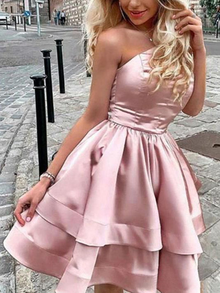 One Shoulder Short Pink Prom Dresses, Short Pink One Shoulder Formal Homecoming Dresses