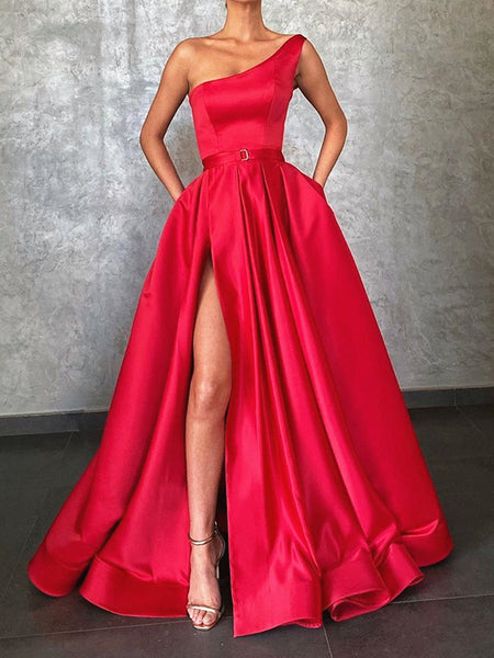 One Shoulder Red Satin Long Prom Dresses, One Shoulder Red Satin Formal Evening Graduation Dresses