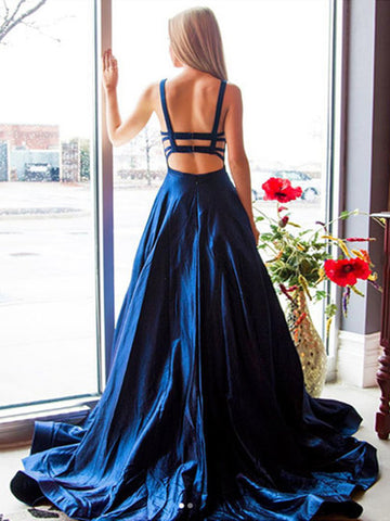 Open Back Navy Blue Long Prom Dresses, Backless Dark Blue Formal Evening Dresses