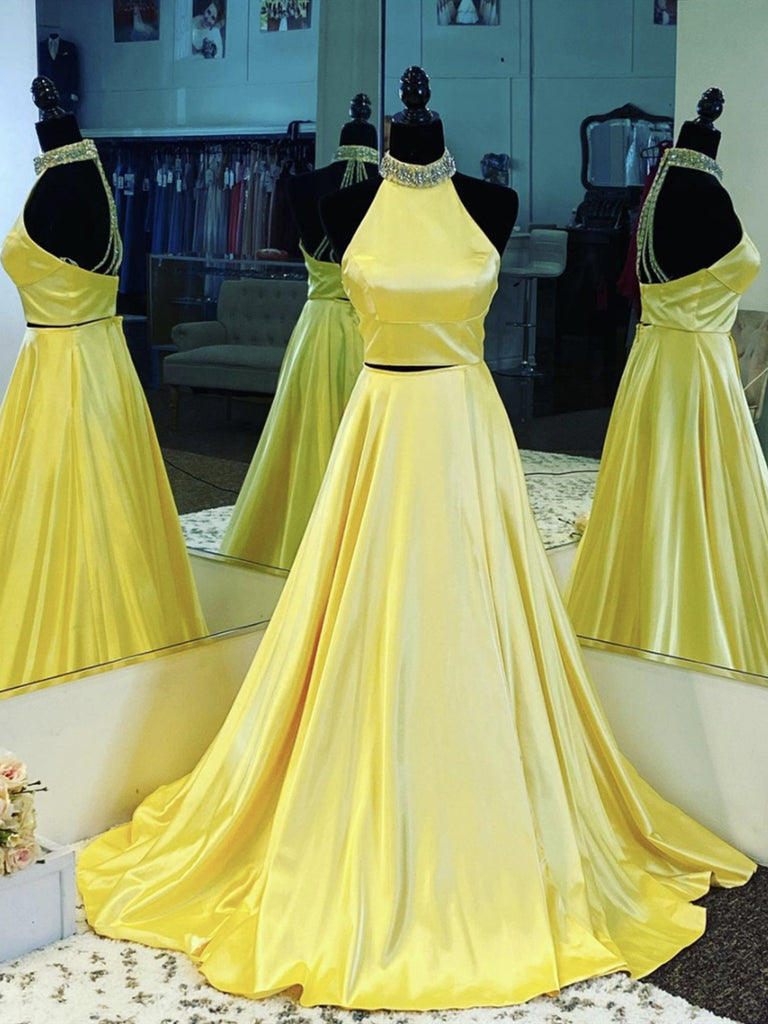 Open Back Yellow Satin Long Prom Dresses, Backless Long Yellow Formal Evening Dresses