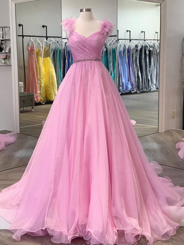 Pink Floral Long Prom Dresses, Pink Long Formal Evening Dresses with Flower Straps