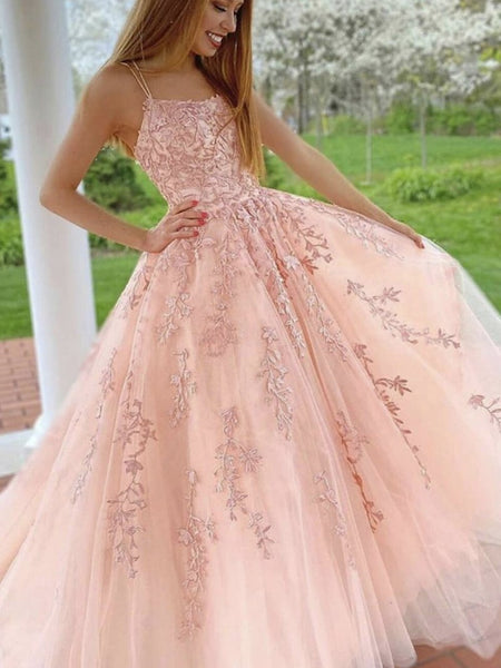 Pink Lace Long Prom Dresses, Pink Lace Long Formal Evening Dresses