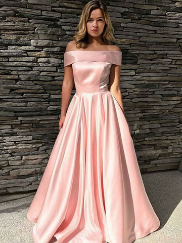 Pink Off Shoulder Satin Prom Dress Long, Off the Shoulder Pink Satin Long Formal Graduation Evening Dresses