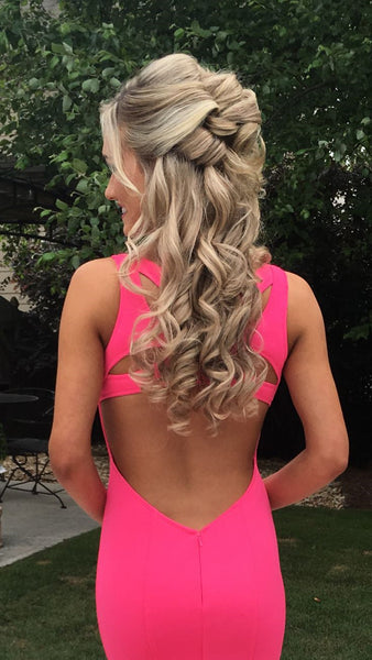 Pink Sweetheart Neck Open Back Mermaid Prom Dresses, Pink Mermaid Formal Evening Dresses