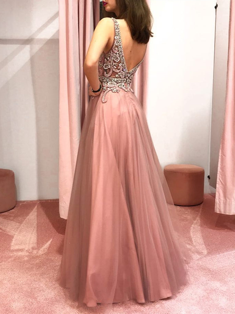 c43ae0255d ... Pink V Neck Backless Beaded Prom Dresses