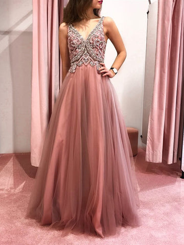 Pink V Neck Backless Beaded Prom Dresses, Pink Backless Formal Graduation Evening Dresses