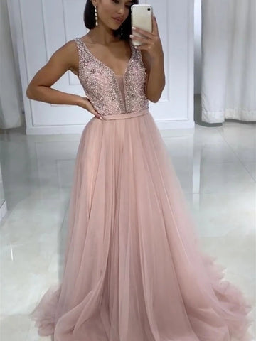 Pink V Neck Tulle Prom Dressses, Beaded Pink Long Formal Evening Dresses