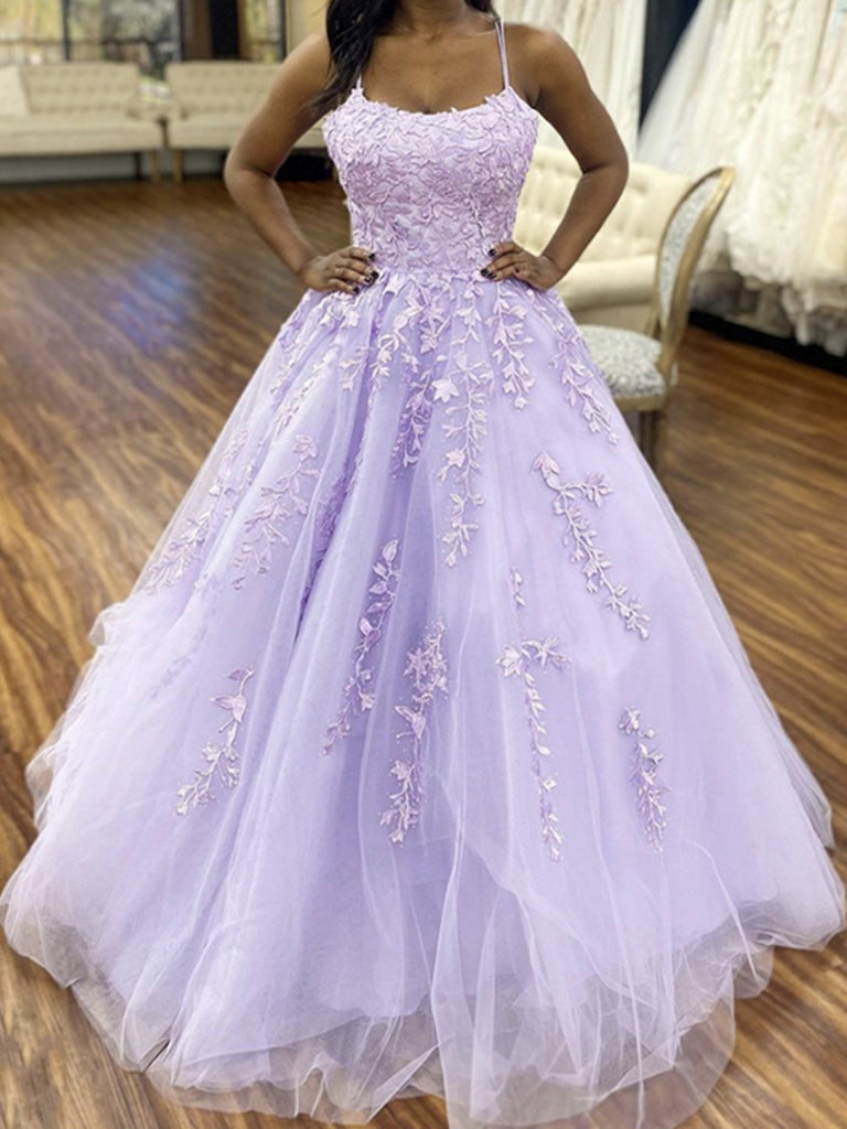 Purple Tulle Lace Prom Dresses, Purple Tulle Lace Formal Evening Dresses