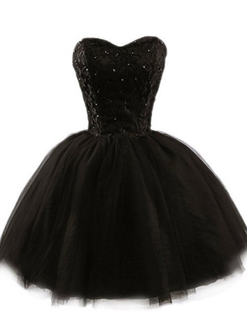 Sweetheart Short Black Lace Prom Dress, Black Lace Graduation / Homecoming Dress