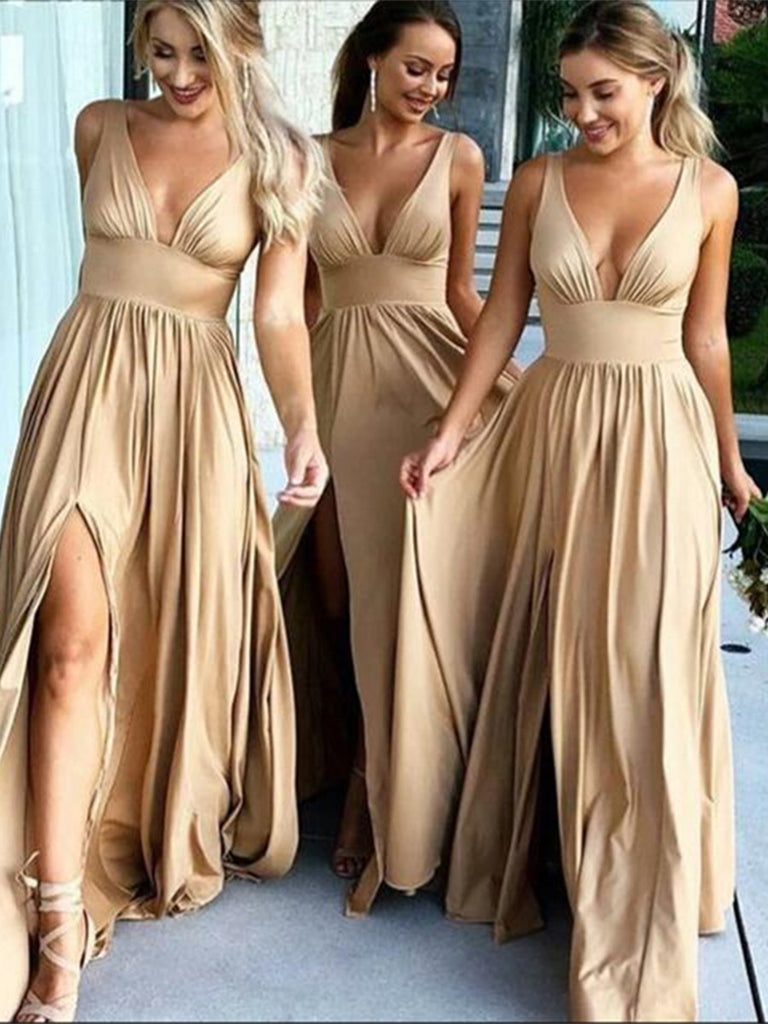 Custom Made A Line V Neck Champagne Prom Dresses, Champagne V Neck Bridesmaid Dresses, Formal Dresses
