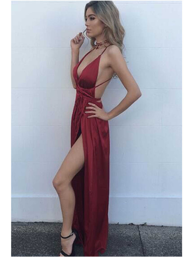 Burgundy V Neck Backless Long Prom Dress, Wine Red Backless Formal Dress