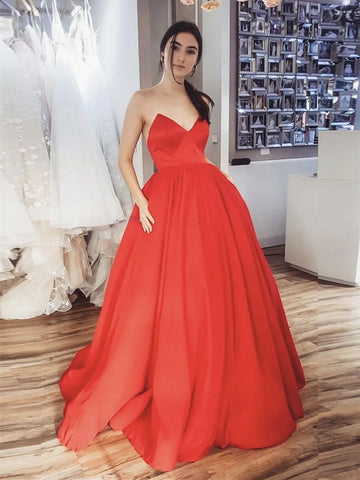 Red Long Satin Prom Dresses, Red Long Satin Formal Evening Dresses