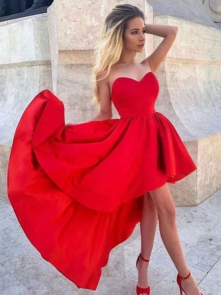 Red Satin High Low Prom Dresses, Red Satin High Low Formal Evening Dresses