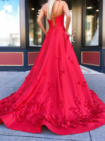 Red V Neck Satin Long Prom Dresses, Red V Neck Long Satin Formal Evening Dresses