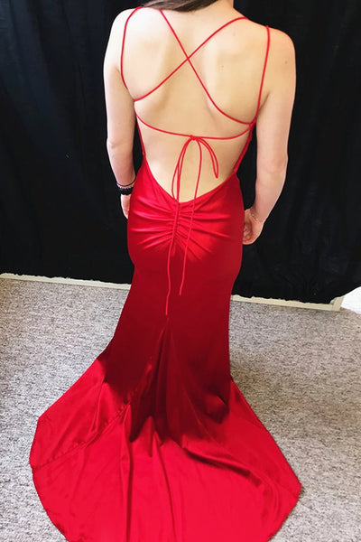 Red Mermaid Backless Prom Dresses, Red Mermaid Open Back Formal Evening Graduation Dresses
