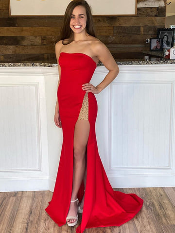 Red Mermaid Prom Dresses with Leg Slit, Red Mermaid Formal Evening Graduation Dresses