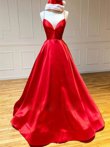 Red V Neck Backless Prom Dresses, Red Open Back Formal Graduation Evening Dresses