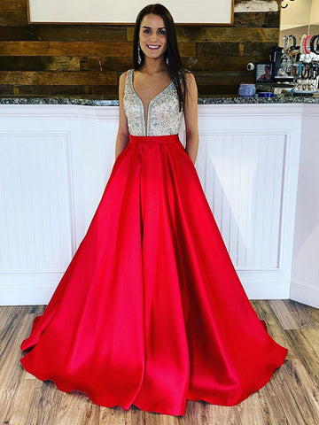 Red V Neck Satin Prom Dresses with Beaded Top, Red Satin Long Formal Evening Dresses