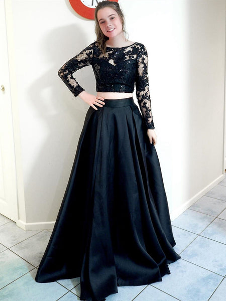 Round Neck Long Sleeves Two Pieces Black Lace Prom Dresses, 2 Pieces Black Lace Formal Evening Dresses