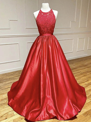 Round Neck Red Lace Long Prom Dresses, Red Lace Formal Evening Graduation Dresses