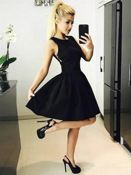 Round Neck Short Black Prom Dresses, Short Black Formal Homecoming Graduation Dresses