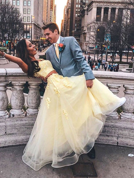 Round Neck 2 Pieces Yellow Lace Prom Dresses, 2 Pieces Yellow Lace Formal Graduation Evening Dress