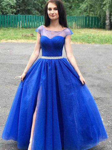 Round Neck Cap Sleeves Blue Prom Dresses, Cap Sleeves Long Blue Formal Graduation Evening Dresses