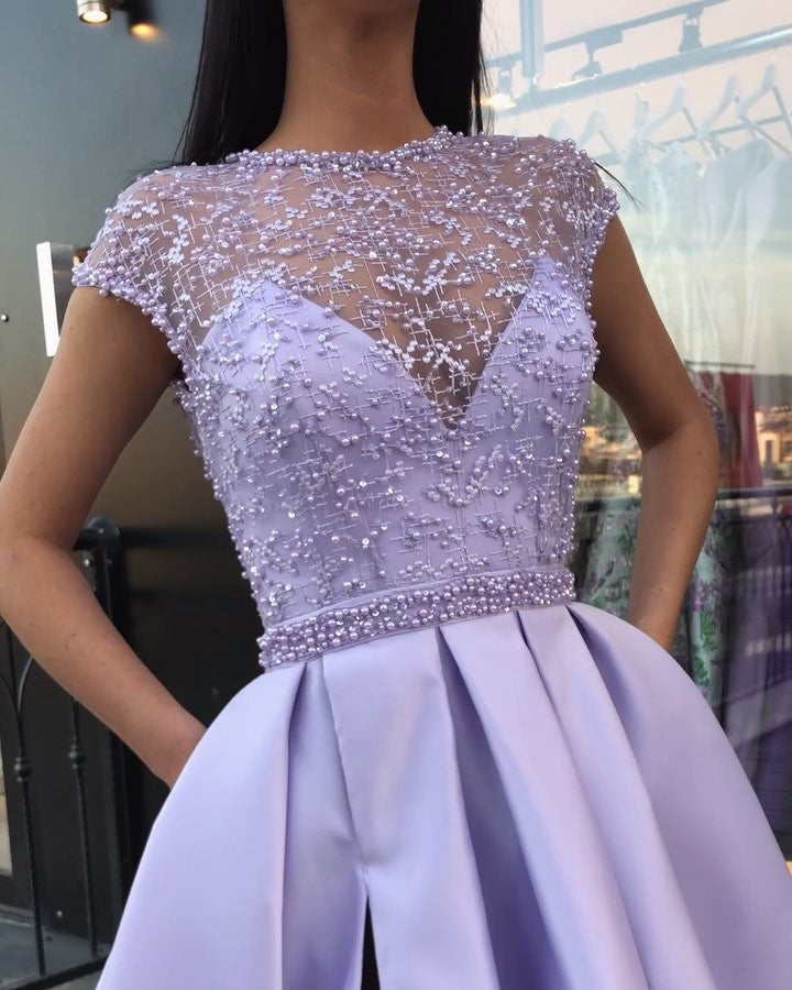 Round Neck Cap Sleeves Purple Lace Prom Dresses Long Cap Sleeves Purple Long Lace Formal Graduation Evening Dresses