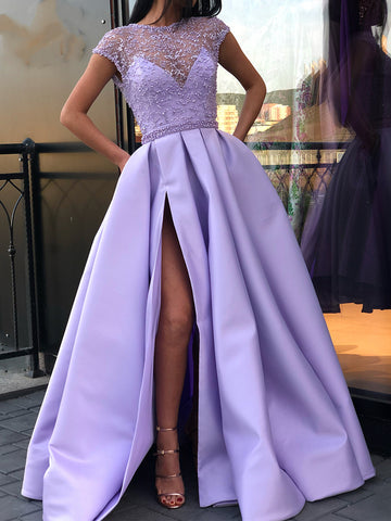 Round Neck Cap Sleeves Purple Lace Prom Dresses Long, Cap Sleeves Purple Long Lace Formal Graduation Evening Dresses