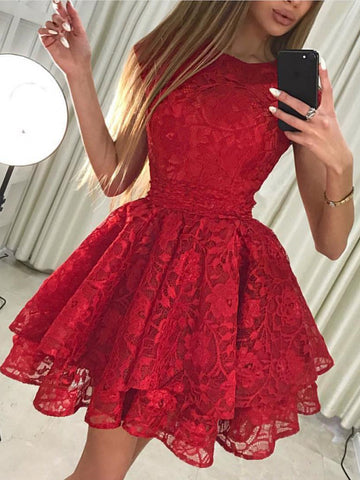 Round Neck Cap Sleeves Short Lace Prom Dresses, Round Neck Short Cap Sleeves Lace Formal Homecoming Graduation Dresses