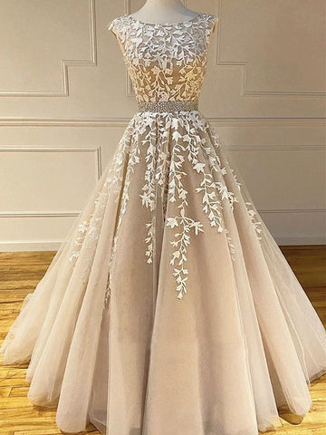 Round Neck Long Champagne Lace Wedding Dresses, Champagne Lace Formal Prom Evening Dresses