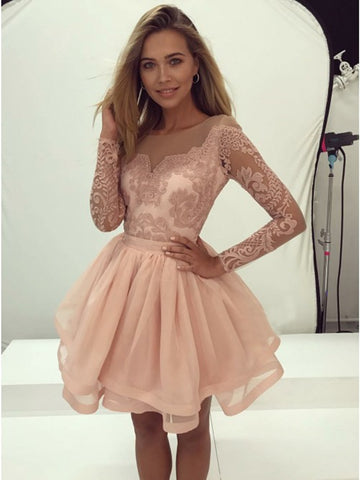 Round Neck Long Sleeves Champagne Lace Prom Dresses, Long Sleeves Champagne Lace Formal Homecoming Dresses