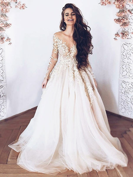 Round Neck Long Sleeves Lace Wedding Dresses, Long Sleeves Lace Prom Formal Graduation Dresses