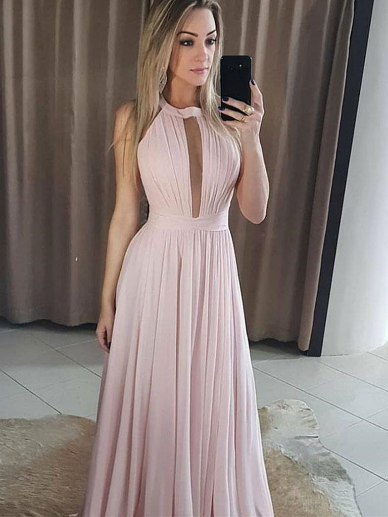 Round Neck Pink Chiffon Prom Dresses Long, Pink Floor Length Bridesmaid Dresses Formal Dresses