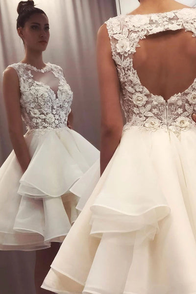 Round Neck Short Ivory Lace Prom Dresses, Short Ivory Lace Formal Graduation Cocktail Dresses