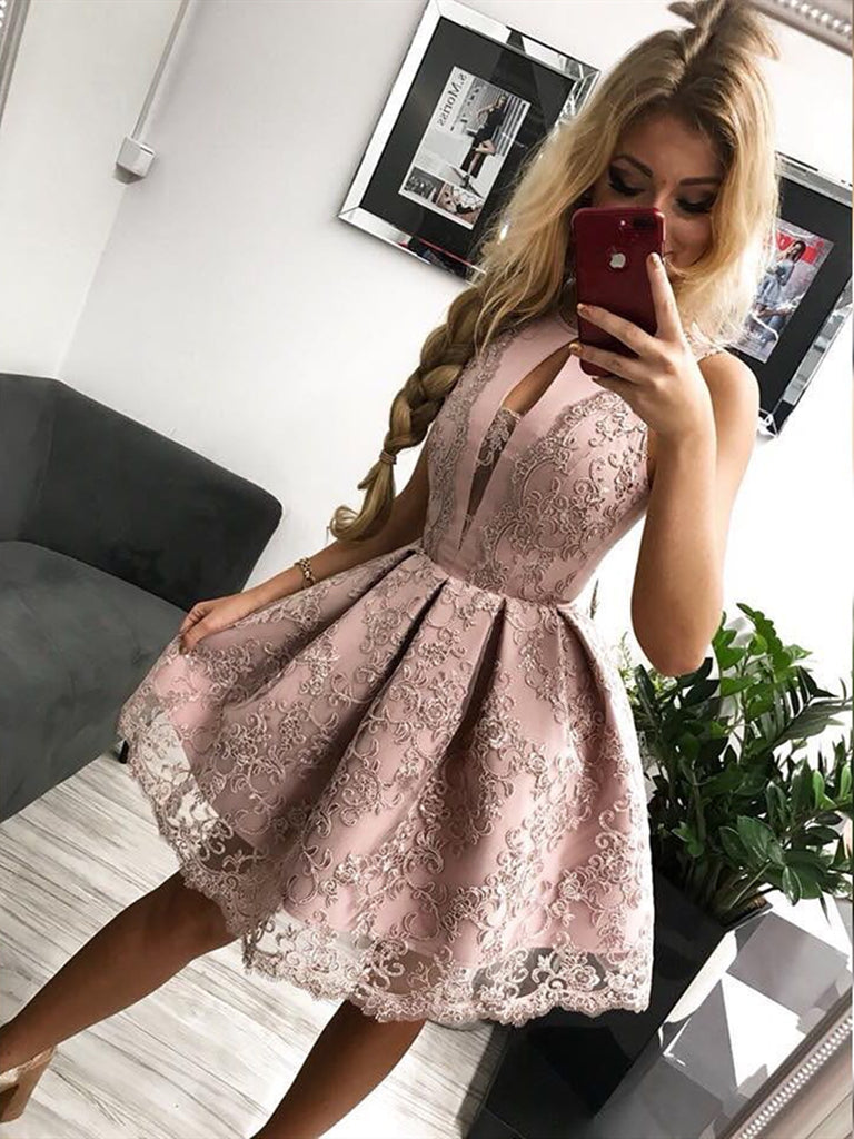 Round Neck Short Pink Lace Prom Dresses, Short Pink Lace Formal Homecoming Graduation Dresses