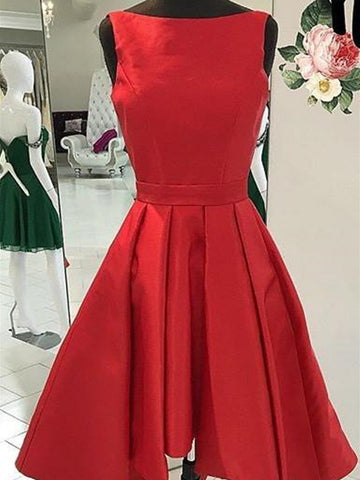 Round Neck Short Red Prom Dresses, Short Red Formal Homecoming Graduation Dresses