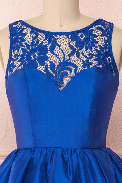 Round Neck Short Royal Blue Lace Prom Dresses, Short Royal Blue Lace Homecoming Graduation Dresses
