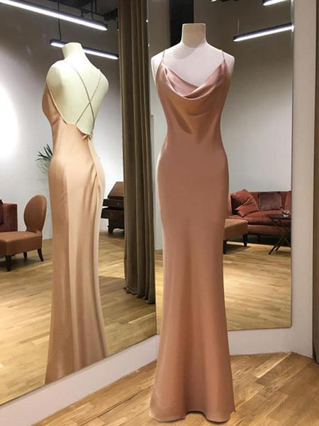 Sheath Champagne Long Prom Dresses, Champagne Floor Length Formal Evening Dresses