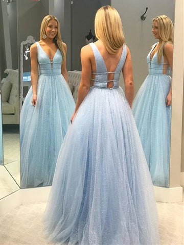 Shiny A Line V Neck Backless Long Prom Dresses, Open Back Long Formal Evening Dresses