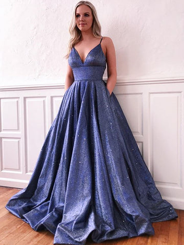 Shiny A Line V Neck Blue Long Prom Dresses, V Neck Blue Long Formal Evening Dresses