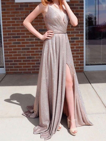 Shiny A Line V Neck Champagne Long Prom Dresses, Champagne V Neck Long Formal Evening Dresses