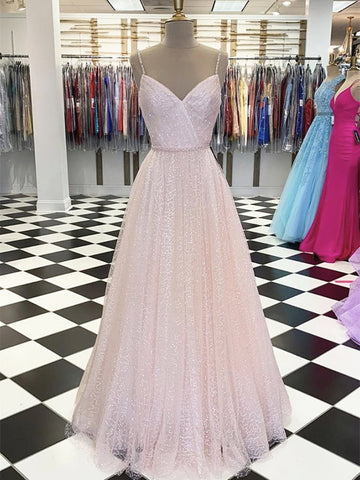 Shiny A Line V Neck Pink Long Prom Dresses, Pink Long Formal Evening Dresses