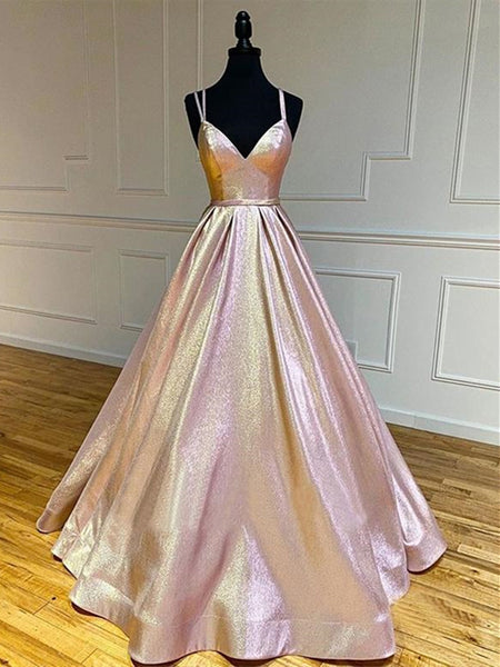 Shiny A Line V Neck Rose Golden Blue Long Prom Dresses, V Neck Rose Gold Blue Formal Evening Dresses