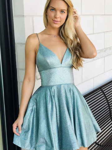 Shiny A Line V Neck Short Green Prom Dresses, Shiny Short Green Formal Homecoming Dresses