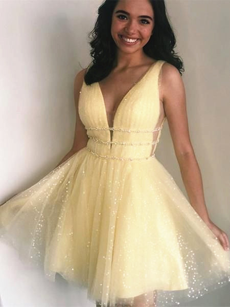 Shiny A Line V Neck Short Yellow Prom Dresses, Short V Neck Yellow Formal Homecoming Dresses
