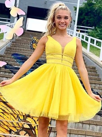 Shiny A Line V Neck Short Yellow Prom Dresses, Short Yellow Formal Homecoming Dresses